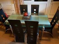 Glass (extending) Dining Table and 6 Chairs