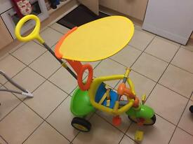 child's tricycle.
