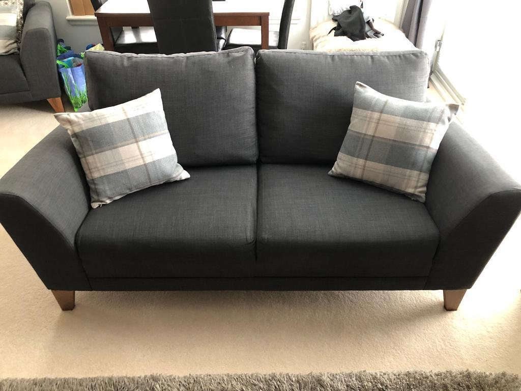 Grey Fabric Sofas Armchair And Footstool In Dunfermline