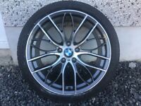 19INCH 5/120 BMW 405 STYLE ALLOY WHEELS DIAMOND CUT AND GUNMETAL GREY INSETS WITH WIDER REARS &TYRES