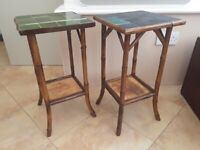 ANTIQUE PAIR OF BAMBOO TABLES 2 TIER LATE 19th EARLY 20th CENTURY FOR RENOVATION