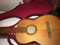 Hard Classical Guitar Case (Deep Red) & Free Project Guitar (All Parts included)
