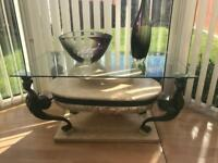 Italian marble glass top coffee table