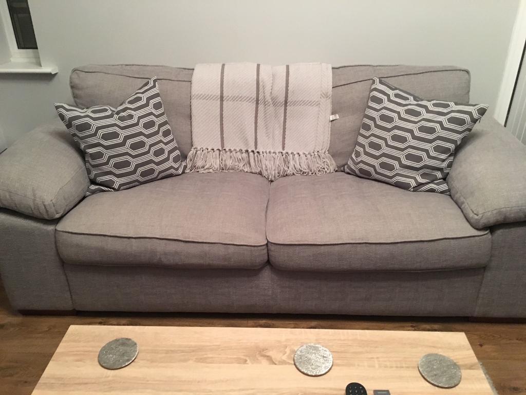 Large Bhs Fabric Sofa Light Grey Plus 2x H M Cushions