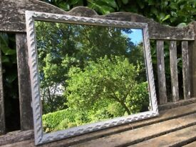Hand painted shabby chic vintage gold gilt mirror in grey