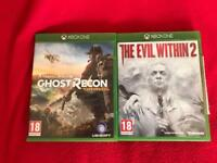 2x Xbox one games tom Clancy ghost second wildlands, and the evil within 2