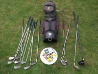 golf club full set taylor made, donnay, ram, 12 clubs, bag, 10 new balls, tees - full kit