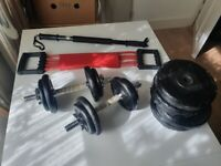 Home Exercise Equipment - Resistance Bands and Bar, and 2x 7.5kg dumbbells (+10kg extra weights)