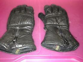Fieldsheer Black Leather Motorcycle Gloves - Size XS/7