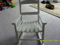 Children's white wooden rocking chair