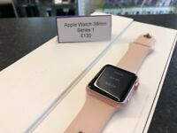 Apple Watch Series 1 38mm Rose Gold Pink Boxed Good Condition