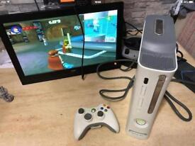 XBOX 360 CONSOLE. 20 GIG HARD DRIVE, WIRELESS CONTROLLER & STAR WARS LEGO GAME