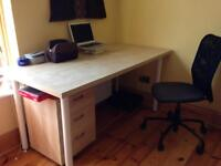 Ikea office table, chair and draws