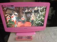 19 INCH BUSH LCD TV FREE VIEW WITH BUILT IN DVD PLAYER MODEL BTVD91186P WITH REMOTE CONTROL