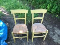 2 wicker seat chairs