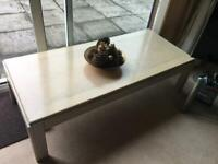 Coffee table long 23x63inched ideal for middle of room cream /limed oak solid wood