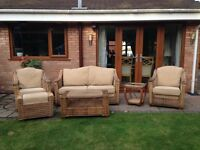 Conservatory ratan 3 piece suite with coffee tables x 2 and footstool