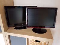 """2x Samsung TV / PC Monitor - 22"""" & 20"""" - both with Freeview"""
