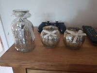 Tealight holders and decorative bottle for sale!