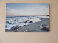 Beach scene print on stretched canvas