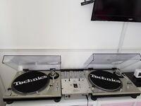 Pair of Technics sl-1200's mk 2 and mixer