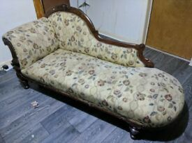 CARVED WOOD FRAMED ANTIQUE CHAISE LONGUE