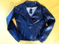 NafNaf - Black biker leather Jacket - FR38 / UK10