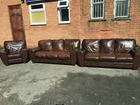 Lovely Brown leather 3 piece large sofa suite .3 3 1.good condition.can deliver