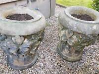 2 antique stone ornate garden planters