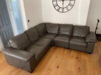 Modern Grey Leather Corner Sofa. 5 seater.
