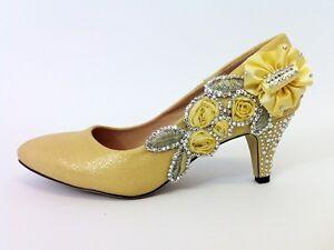 ZAPATOS-DE-BODA-novia-Boda-Dama-Honor-Graduacion-Zapatos-Dorado-Size-8GB