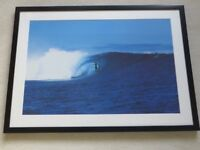 FRAMED PICTURE OF SURFERS WITH CLEAR GLASS & BEVELL EDGED MOUNT