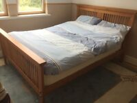 "Pine 4' 6"" Double Bed with Mattress"