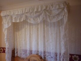 Cream lace style double bed canopy, frame and curtains