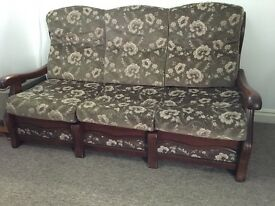 Sofa - bed (three and one seater) with wooden frame