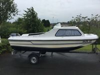 14ft Cabin Fishing Boat with 2 outboard engines & trailer