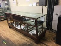 open to offers Glass shop display cabinet 220x 60x 95 cm, teak timber and strong brass frame