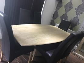 Gorgeous Scandinavian Marble dining table with 6 leather chairs