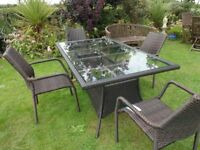 RATTAN GARDEN SET -- LARGE -- TABLE AND 4 CHAIRS --