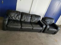 STUDIO BLACK LEATHER SET 3 SEATER SOFA / SETTEE / SUITE AND CHAIR / ARMCHAIR DELIVERY AVAILABLE