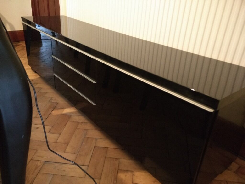 Ikea Besta Burs Black High Gloss Tv Bench Cabinet Unit