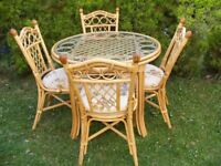 CAN DELIVER - PATIO CONSERVATORY DINING TABLE + 4 CHAIRS IN VERY GOOD CONDITION