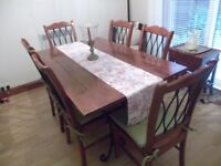 Dining room table and 6 chairs in Malaysian hardwood and wrought iron. Table is 3ft x 5ft