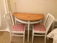 Small upcycled table and 2 Chairs
