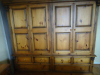 Quadruple Wardrobe - solid pine in honey patina finish. Great Condition. Reduced to £350