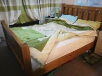Next solid pine king size bed with mattress