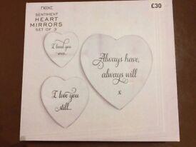 Next sentiment heart mirrors set of 3 ideal Xmas present