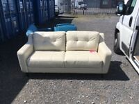 DFS MARGOT THREE SEATER SOFA IN CREAM LEATHER RRP £798