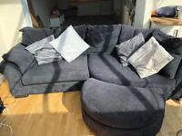 Sofa, arm chair with foot stool - black