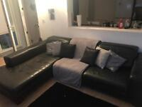 Large Leather Black Corner Sofa